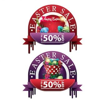 Pasen-verkoop twee moderne ronde kortingsbanners