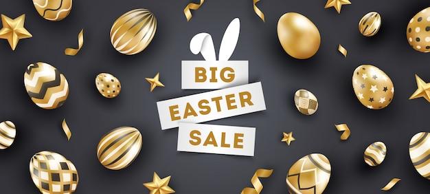 Pasen-verkoop zwarte banner met realistische gouden verfraaide eieren, sterren, tekst en linten.