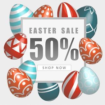 Pasen-verkoopbanner met mooie kleurrijke eieren. lente illustratie.