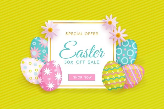 Pasen-verkoopbanner met tekst, eieren en bloemen