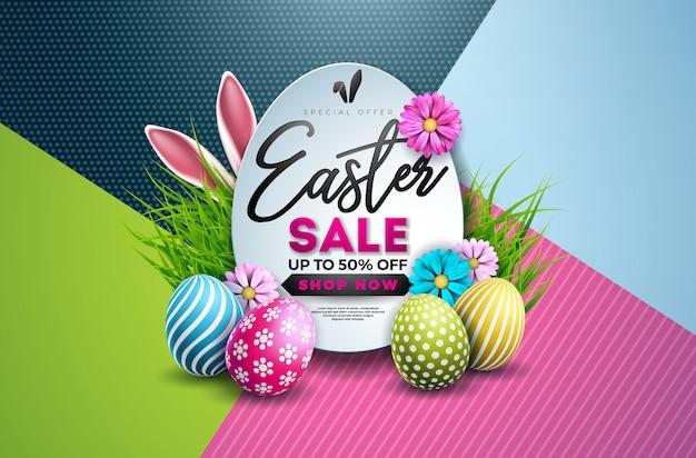Pasen-verkoopillustratie met geschilderd ei en bloem
