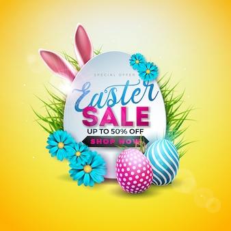 Pasen-verkoopillustratie met geschilderde ei en konijnoren