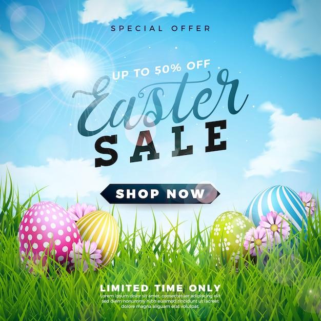 Pasen-verkoopillustratie met kleur geschilderd ei
