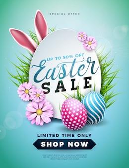 Pasen-verkoopillustratie met kleur geschilderde ei en konijnoren