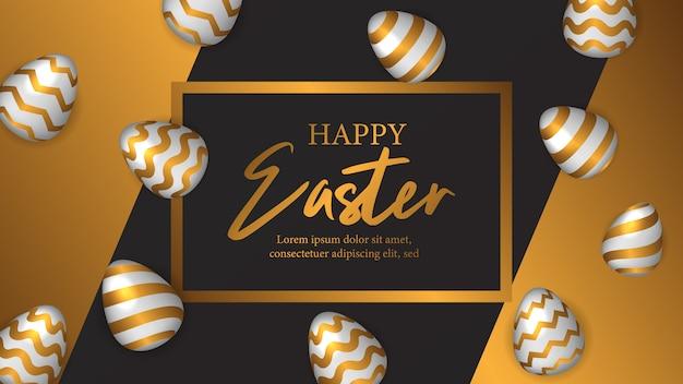 Pasen viert uitnodigingsaffiche met gouden ei