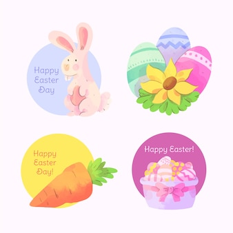 Pasen-waterverfetiket met eieren en konijntje wordt geplaatst dat