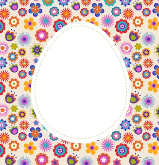 Pasen-wenskaart met ei en bloemenpatroon