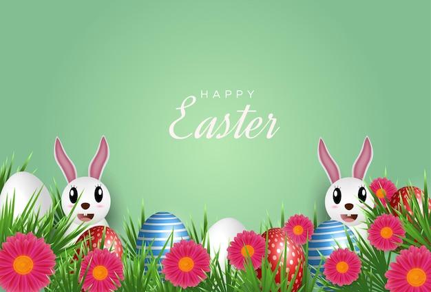 Pasen-wenskaart met eieren en konijnen