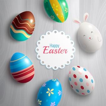 Pasen-wenskaart met kleurrijke eierenillustratie