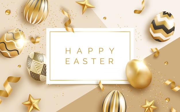 Pasen-wenskaart met realistische gouden versierde eieren, linten, ballen en tekst.