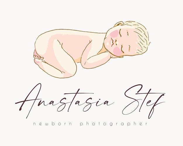 Pasgeboren baby premade logo sjabloon