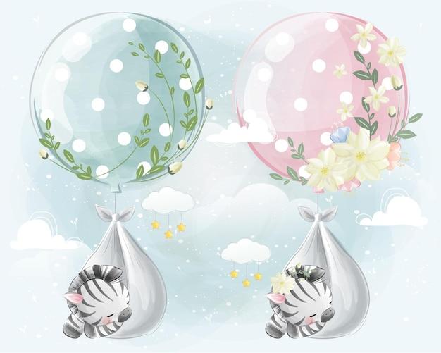 Pasgeboren babyzebra vliegt met een ballon