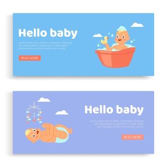 Pasgeboren, belettering op set s hallo baby, uitnodiging, schattige baby, wenskaart voor zoon, illustratie. verjaardagsgroet, gelukkige viering, jeugd, kaart met schattig kind.