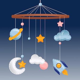 Pasgeboren hangende hangers, bed en slaapkamer decoratie illustratie