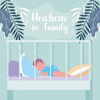 Pasgeboren in familie met babyslaap in voederbak