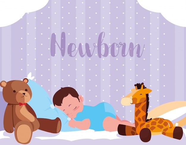 Pasgeboren kaart met babyjongen slaapt met speelgoed