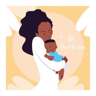 Pasgeboren kaart met moeder afro en schattige kleine zoon