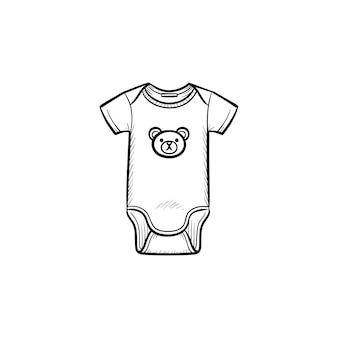 Pasgeboren kind slijtage hand getrokken schets doodle pictogram. schattig pak kinderkleding vector schets illustratie voor print, web, mobiel en infographics geïsoleerd op een witte achtergrond.