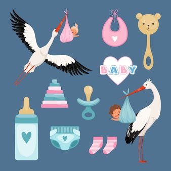 Pasgeboren pictogrammen instellen. leuke items voor kinderen jurken bloemen speelgoed peuter vliegende ooievaar met baby gekleurde items