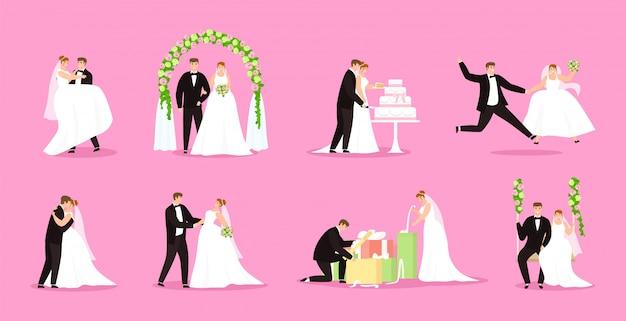 Pasgetrouwde, net getrouwd stel, bruid en bruidegom illustratie bruiloft, huwelijk ingesteld.