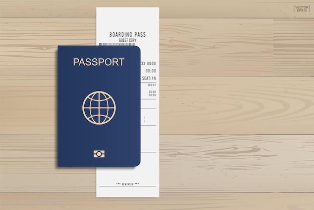 Paspoort en instapkaart ticket op hout achtergrond. vector illustratie.