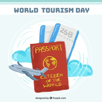 Paspoort klaar voor de werelddag van het toerisme