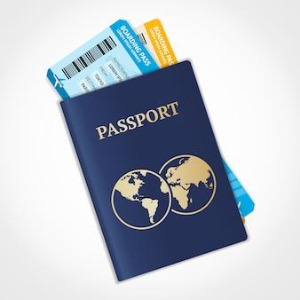 Paspoort met kaartjes. vliegreizen concept.