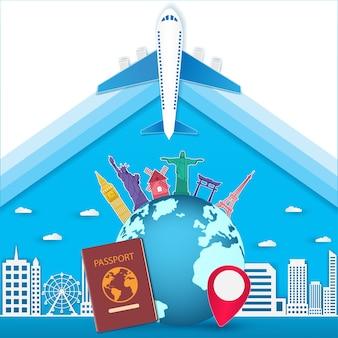 Paspoort reizen rond de wereld-concept.