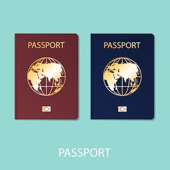 Paspoort wereld platte vector