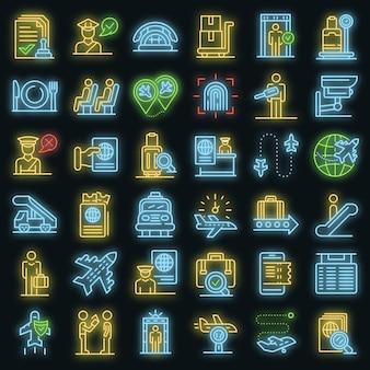 Paspoortcontrole pictogrammen instellen. overzicht set van paspoortcontrole vector iconen neon kleur op zwart