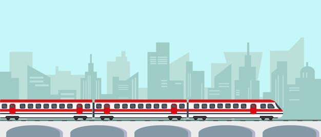 Passagier hoogte snelheidstrein op brug in de stad
