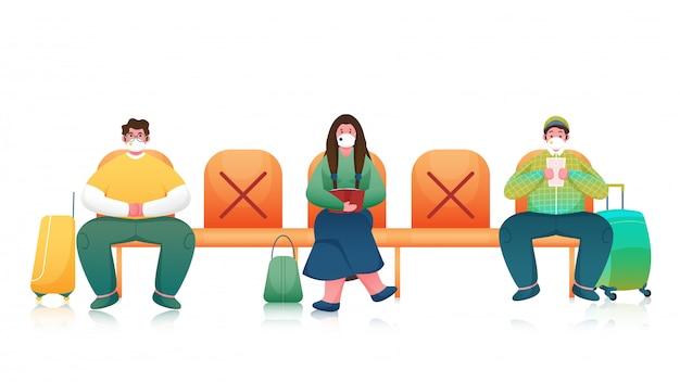 Passagier of mensen dragen van medische masker zittend op stoel met behoud van sociale afstand op witte achtergrond.