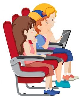 Passagier op vliegtuigstoel