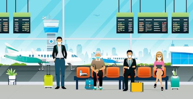 Passagiers die op het vliegtuig wachten tijdens de covid-epidemie
