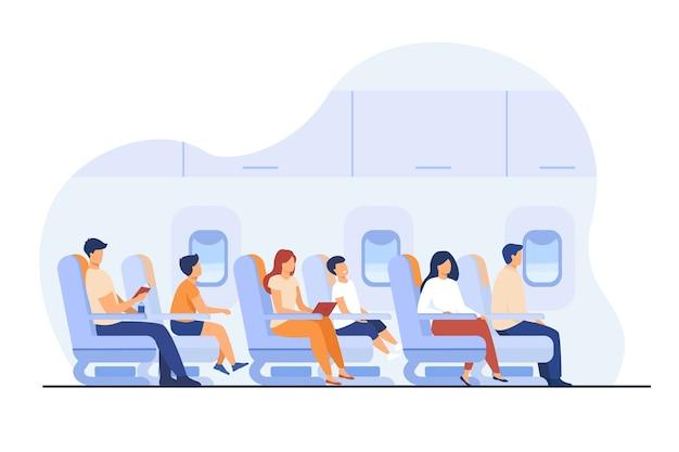 Passagiers die per vliegtuig reizen geïsoleerde platte vectorillustratie. stripfiguren op vliegtuig of vliegtuig boord.