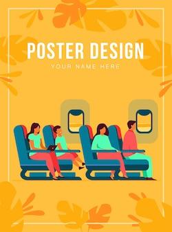 Passagiers die per vliegtuig reizen geïsoleerde vlakke afbeelding. stripfiguren op vliegtuig of vliegtuig boord. luchtvaartmaatschappij transport, vlucht en toerisme concept