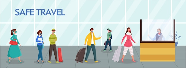 Passagiers dragen beschermende maskers met behoud van sociale afstand