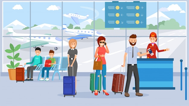 Passagiers in de luchthaventerminal