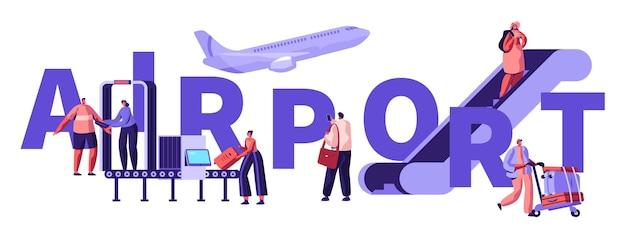 Passagiers in luchthavenconcept. mensen zetten bagage op de transportband, passeren de controle, gaan omhoog met een ladder, bereiden zich voor op vliegtuigvlucht, poster, banner, flyer, brochure. cartoon platte vectorillustratie
