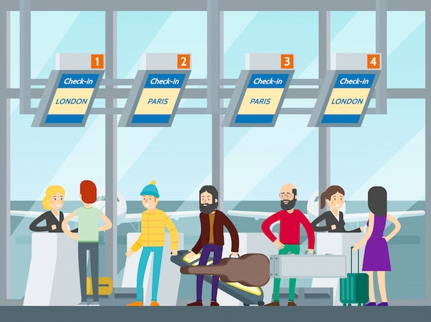 Passagiers in luchthavenconcept