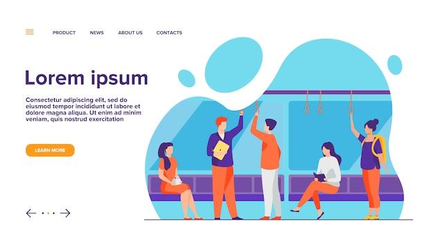 Passagiers in metro wagen platte vectorillustratie