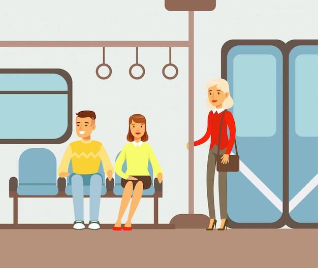 Passagiers op hun plaatsen in de metro trein auto