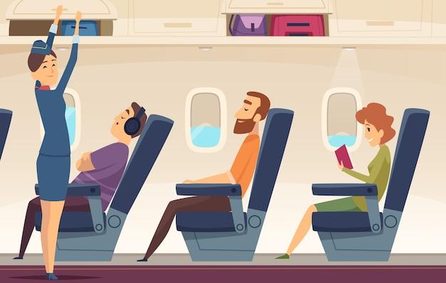 Passagiers vliegtuig. stewardess avia service toerisme luchtvaart cartoon achtergrond. stewardess en vluchtdienst vliegtuig illustratie