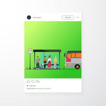 Passagiers wachten op openbaar vervoer bij bushalte platte vectorillustratie. stripfiguren die auto gebruiken. transport en transport concept.