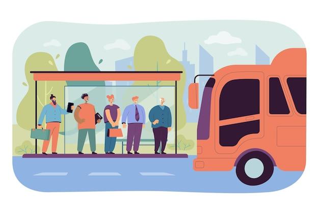 Passagiers wachten op vervoer bij bushalte