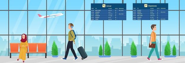 Passagiersmensen met bagage die wachten op vliegtuigvlucht in de vertrekkamer van de luchthaven
