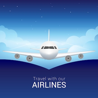 Passagiersvliegtuig in de lucht wolken, veilige vlucht in de lucht