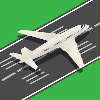 Passagiersvliegtuig isometrische landing vanaf startbaan. illustratie
