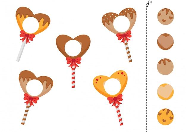 Passend spel van lollys in de vorm van een hart.