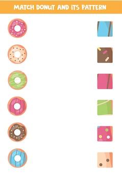 Passende game van donuts en hun patronen.